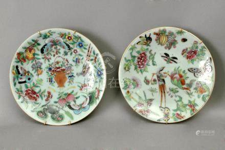 A pair of 19th century Canton porcelain plates
