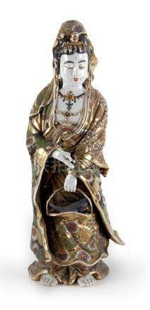 A 19th century Japanese figure of a Guanyin in Satsuma porce