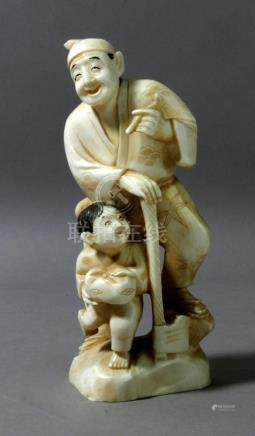 A 19th century Chinese school carved ivory figure of a child