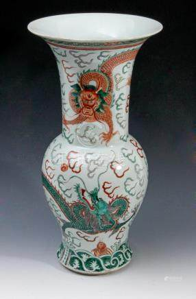 A 20th century Chinese vase in Famille Verte porcelain