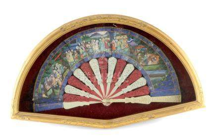 A 19th century Chinese 'one thousand faces' folding fan with