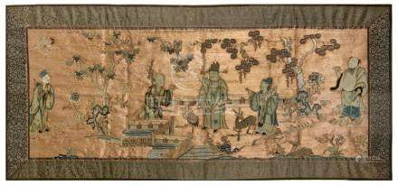 19th century Chinese school. A silk embroidered tapestry