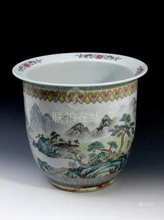 A 20th century Chinese porcelain cache pot from the Republic
