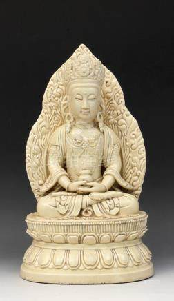 20th century Chinese school. A figure of a Guanyin in Blanc
