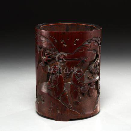 Kangxi era carved bamboo brush pot