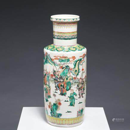 Chinese famille verte rouleau vase