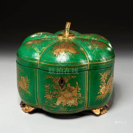 Chinese Export gourd-form lacquered tea caddy