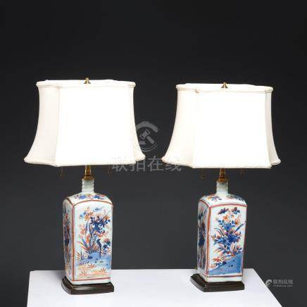Pair early Imari squared porcelain bottle lamps
