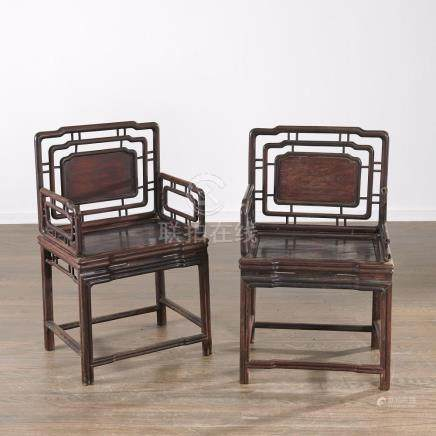 Pair Chinese rose Meigui yi armchairs
