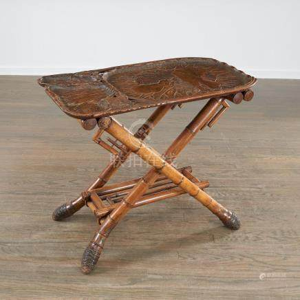 Chinese Art Nouveau bamboo tray table