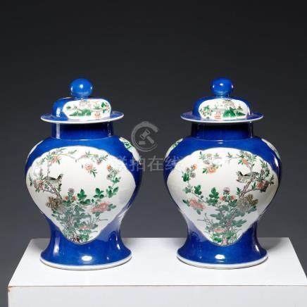 Pair antique Chinese lidded ginger jars