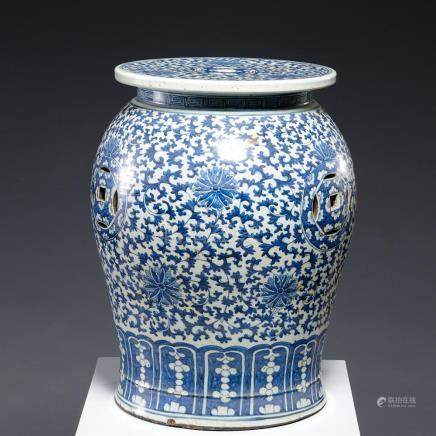 Nice old Chinese blue and white garden stool