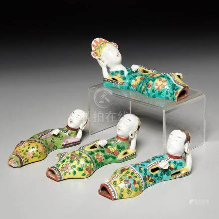 (4) Chinese famille verte reclining figures