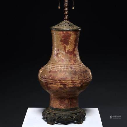 Han Dynasty tomb pottery vase lamp