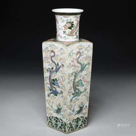 Chinese famille verte porcelain squared vase