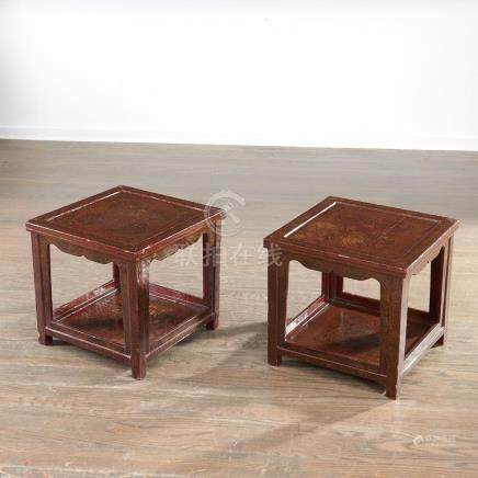 Pair Qianlong era red lacquer tables