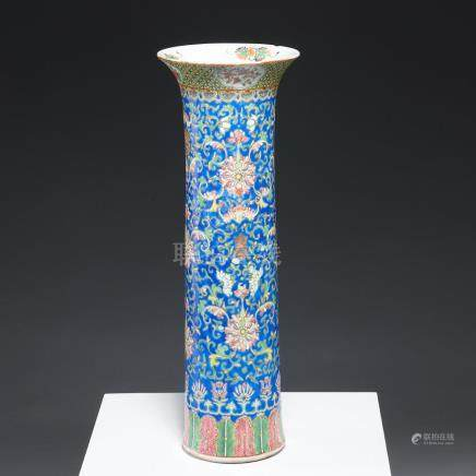 Tall Chinese famille rose Gu vase