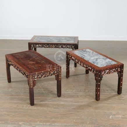 (3) Chinese abalone inlaid hardwood tables