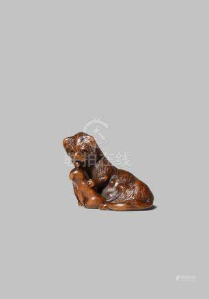 A JAPANESE WOOD NETSUKE EDO/MEIJI PERIOD Carved as a Pekingese dog licking her puppy, lying on her