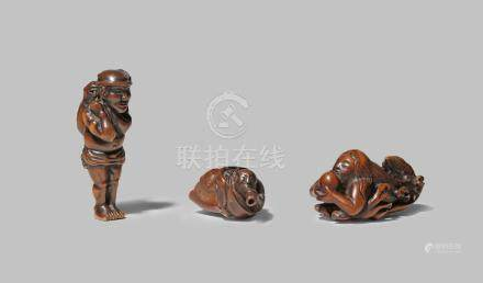 THREE JAPANESE WOOD NETSUKE EDO/MEIJI PERIODS One carved as Benkei in a large conch and blowing into