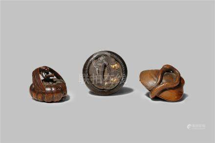 THREE JAPANESE NETSUKE EDO/MEIJI PERIODS One a kagamibuta netsuke with a wood bowl, the mixed-