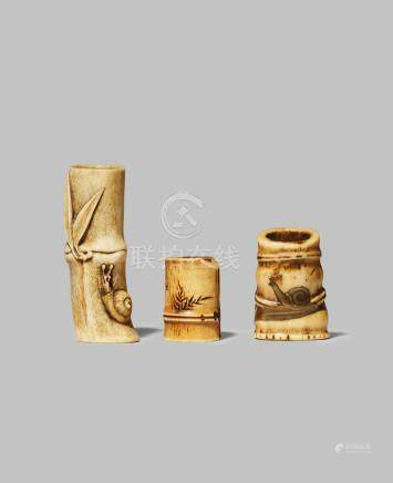 THREE JAPANESE STAG ANTLER NETSUKE MEIJI 1868-1912 All carved as a section of bamboo and two with