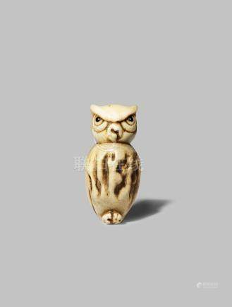 A JAPANESE ASAKUSA SCHOOL STAG ANTLER NETSUKE MEIJI 1868-1912 Depicting a small owl, the natural
