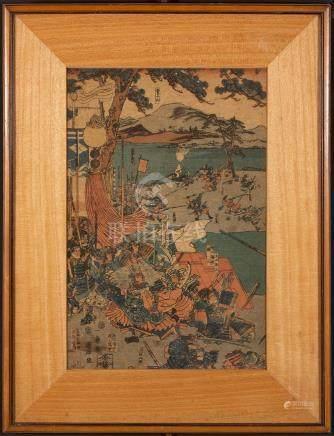 Japanese Woodblock of Battle Scene, 19th Century