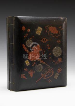 Japanese Kanai Lacquer Book Form Box, Meji Period