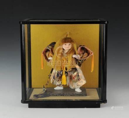 Cased Japanese Warrior Doll