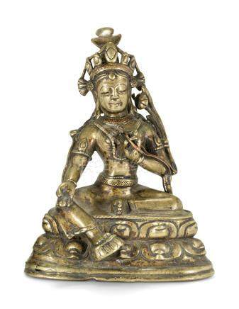 A COPPER-INLAID BRONZE FIGURE OF TARA 15TH-16TH CENTURY