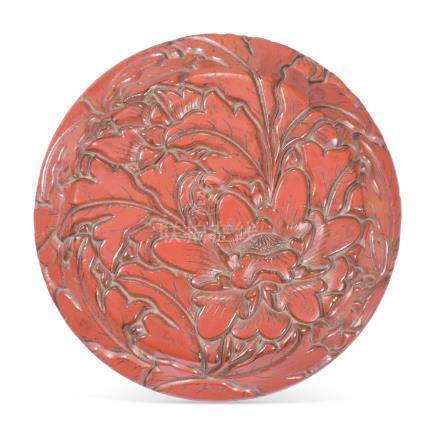 A CHINESE CARVED CINNABAR LACQUER BOX AND COVER 18TH CENTURY