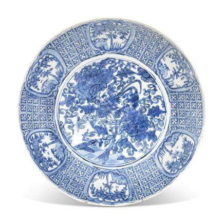 A CHINESE LARGE BLUE AND WHITE 'PHEASANT AND PEONY' DISH MING DYNASTY (16TH-17TH CENTURY)