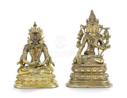 TWO BRONZE BUDDHIST FIGURES 16TH-17TH CENTURY