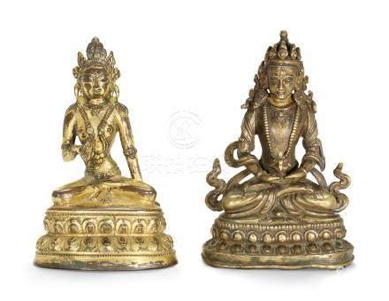TWO BRONZE BUDDHIST FIGURES 17TH-18TH CENTURY