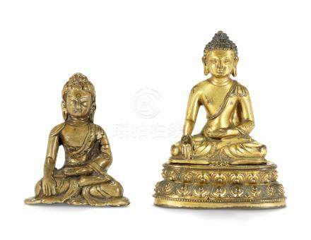 TWO SMALL CHINESE GILT-BRONZE FIGURES OF BUDDHA 17TH-18TH CENTURY