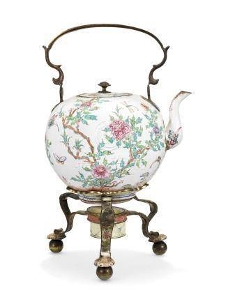 A CHINESE PAINTED ENAMEL FAMILLE ROSE TEAPOT AND STAND 18TH CENTURY