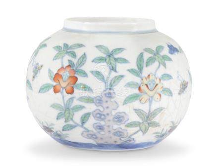 A CHINESE DOUCAI GLOBULAR 'FLOWER AND BUTTERFLY' JAR 18TH-19TH CENTURY