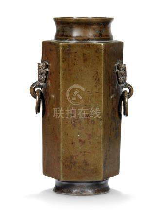 A CHINESE BRONZE HEXAGONAL TWO-HANDLED VASE 17TH CENTURY
