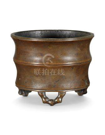 A CHINESE BRONZE BAMBOO-FORM CENSER 17TH CENTURY