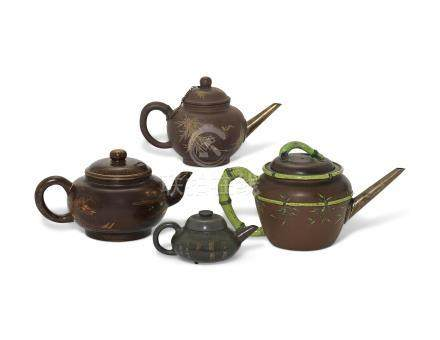 FOUR CHINESE YIXING TEAPOTS AND COVERS 19TH CENTURY