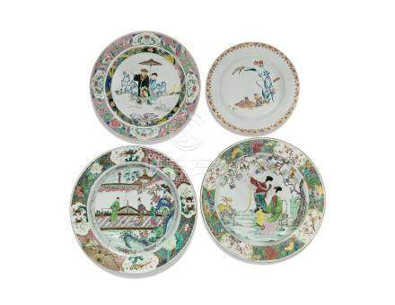 A GROUP OF CHINESE FAMILLE ROSE PORCELAIN AND A EUROPEAN-DECORATED KAKIEMON-STYLE DISH 18TH CENTURY