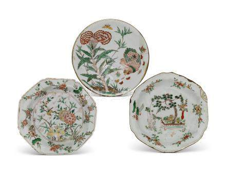 THREE CHINESE POLYCHROME ENAMELLED DISHES 17TH CENTURY