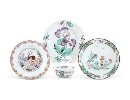 THREE CHINESE EXPORT EUROPEAN-DECORATED DISHES AND A EUROPEAN-DECORATED BOWL THE THREE DISHES: THE CHINESE PORCELAIN 18TH CENTURY, THE ENAMELS LATER ADDED IN HOLLAND AND EUROPE THE BOWL: 18TH CENTURY, WITH EUROPEAN ENAMELS