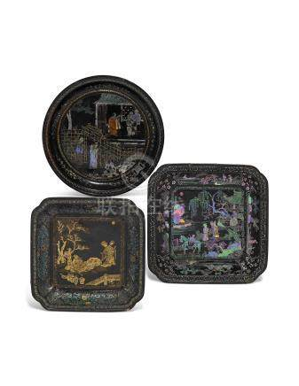 THREE CHINESE MOTHER-OF-PEARL INLAID TRAYS 17TH-18TH CENTURY