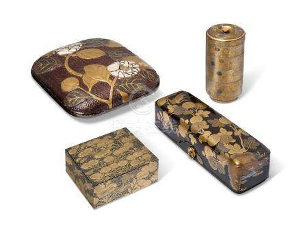 FOUR JAPANESE LACQUER BOXES AND COVERS EDO PERIOD (18TH-19TH CENTURY)