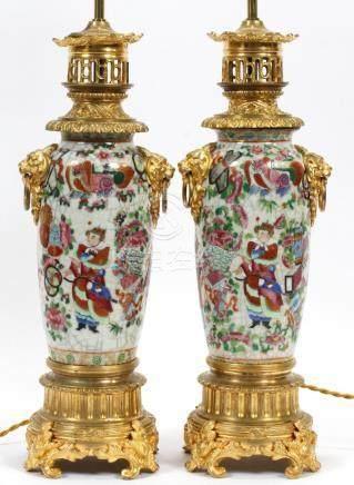 ROSE MEDALLION TWO-LIGHT PORCELAIN LAMPS, PAIR