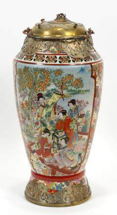 ASIAN HAND PAINTED PORCELAIN OPIUM URN