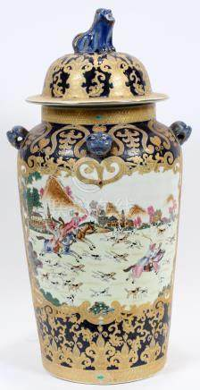 "CHINESE MODERN COVERED JAR, H 28"", D 13"""