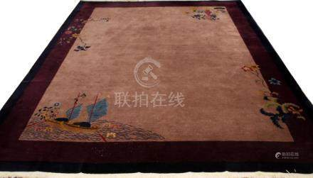 CHINESE SEMI-ANTIQUE WOOL CARPET C. 1930